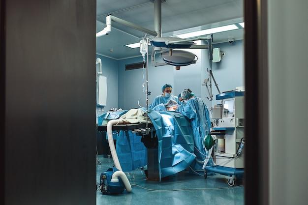 Equipe médica está preparando a sala de operações para uma operação complexa