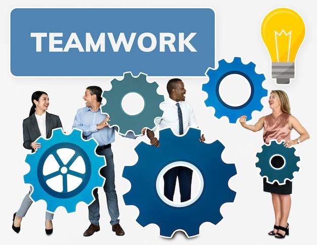 Equipe negócio, conectando, com, engrenagens
