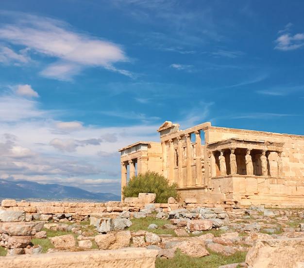 Erechtheion templo acrópole, atenas, grécia, imagem panorâmica