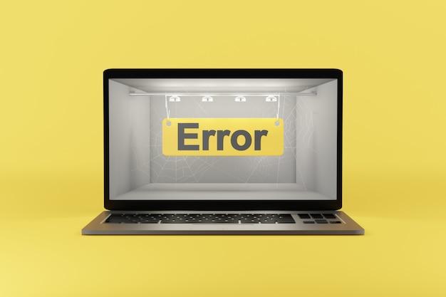 Erro - texto na tela do computador. renderização em 3d.