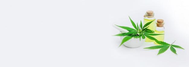 Erva e folhas de cannabis para tratamento de caldo, tintura, extrato, óleo.