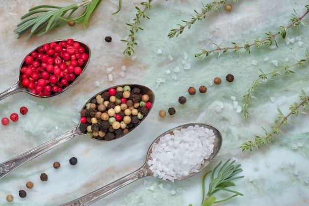 Ervas com sal e pimenta em colheres no fundo de pedra de mármore, vista superior, plana leigos