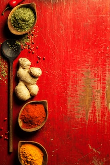 Ervas e especiarias na mesa vermelha com copyspace