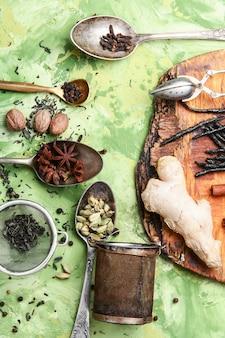 Ervas e especiarias para chá tônico