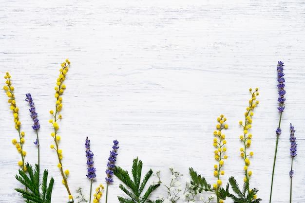 Ervas e flores sobre fundo branco de madeira