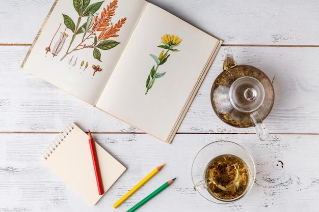 Ervas medicinais com receita na mesa de madeira. configuração plana