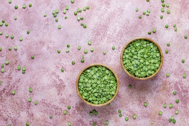 Ervilhas verdes, vista superior