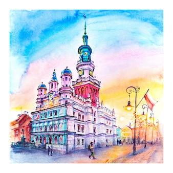 Esboço a lápis coplorado da antiga praça do mercado em poznan, polônia