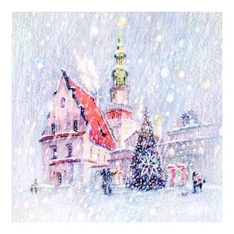 Esboço a lápis coplorado da nevada praça do mercado de natal em poznan, polônia