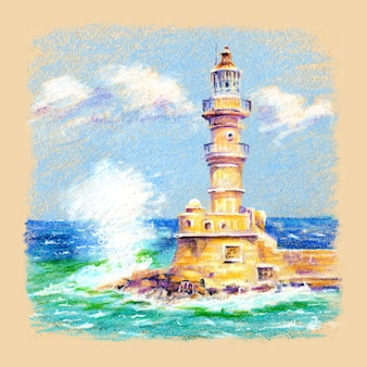 Esboço a lápis coplorado do farol no antigo porto de chania, creta, grécia