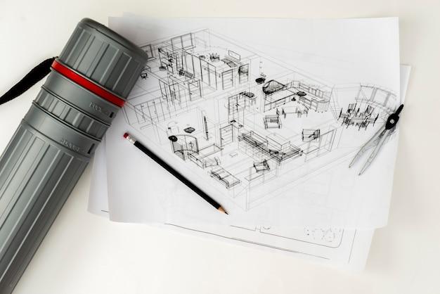 Esboço arquitetônico flat-lay com tubo de formiga de lápis