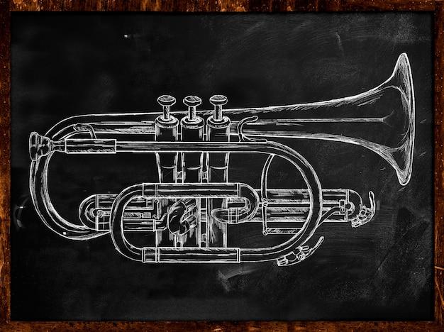 Esboço da trombeta no quadro-negro