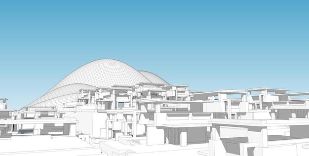 Esboço de desenho arquitetônico abstrato, ilustração