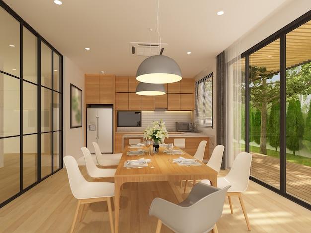 Esboço de design de interiores de jantar