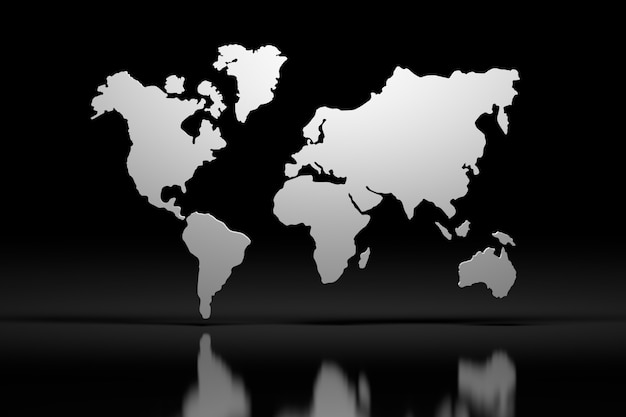 Esboço de mapa mundo 3d branco sobre superfície reflexiva de espelho preto
