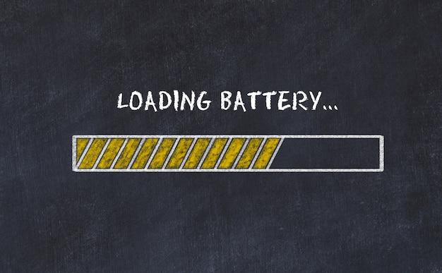 Esboço de placa de giz com barra de progresso e inscrição carregando bateria