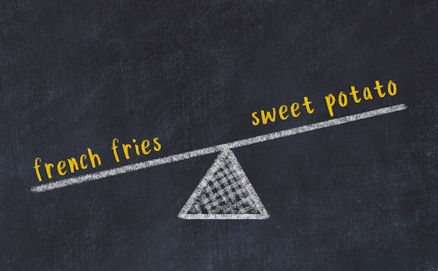 Esboço de quadro de giz de escalas. conceito de equilíbrio entre batata doce e batata frita