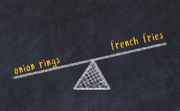 Esboço de quadro de giz de escalas. conceito de equilíbrio entre batatas fritas e anéis de cebola
