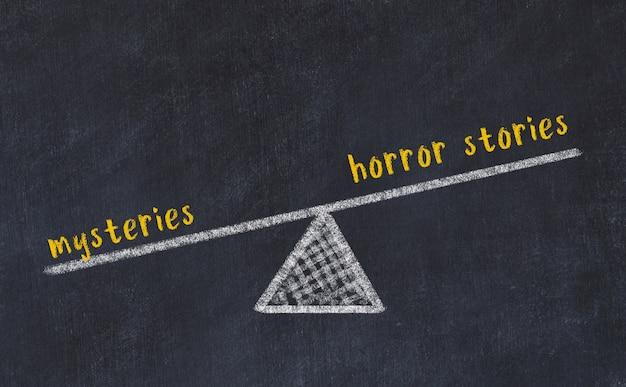 Esboço de quadro de giz de escalas. conceito de equilíbrio entre histórias de horror e mistérios