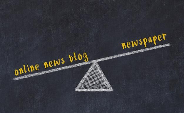 Esboço de quadro de giz de escalas. conceito de equilíbrio entre jornal e blog de notícias on-line