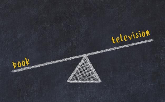 Esboço de quadro de giz de escalas. conceito de equilíbrio entre televisão e livro