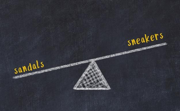 Esboço de quadro de giz de escalas. conceito de equilíbrio entre tênis e sandálias