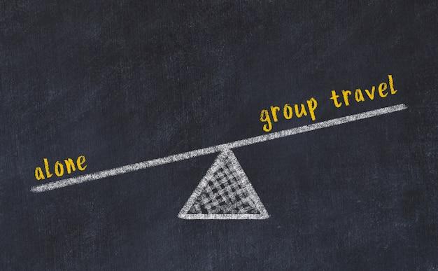 Esboço de quadro de giz de escalas. conceito de equilíbrio entre viagens em grupo e sozinho