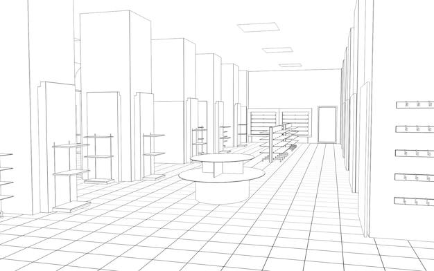 Esboço de visualização de contorno de shopping center