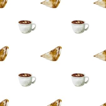 Esboço desenhado à mão em aquarela ilustração café da manhã café da manhã pão grelhado e xícara de café quente