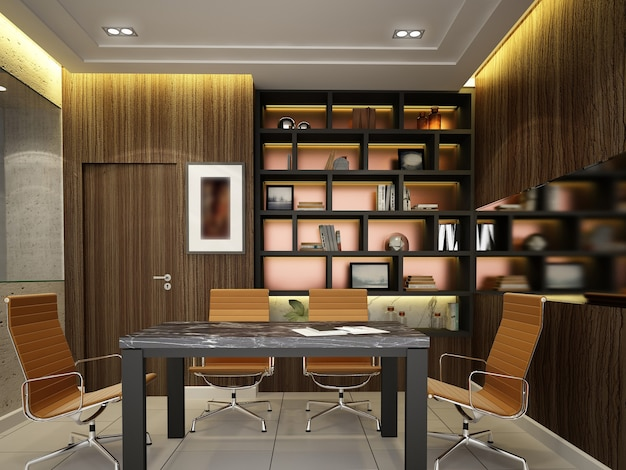 Esboço do design da sala de conferências interna, renderização em 3d