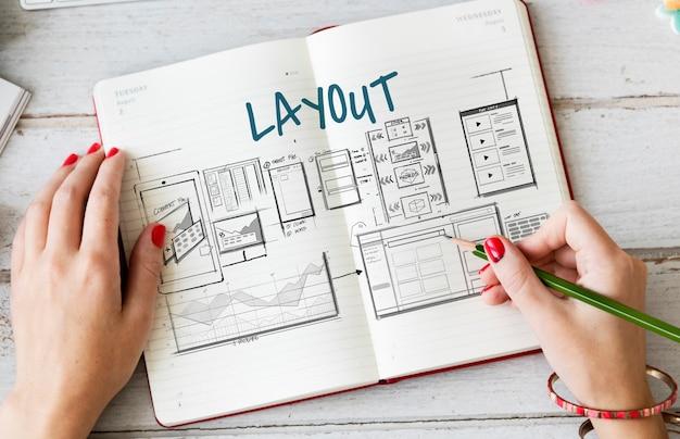 Esboço do esboço do layout do modelo da web