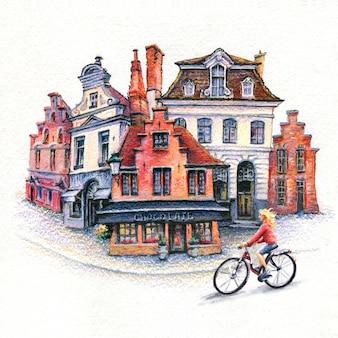 Esboço em aquarela com uma garota ciclista em bruges, bélgica