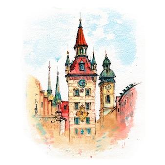 Esboço em aquarela da antiga prefeitura