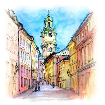 Esboço em aquarela da catedral de estocolmo