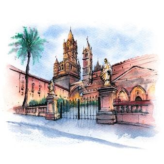 Esboço em aquarela da catedral de palermo, sicília, itália
