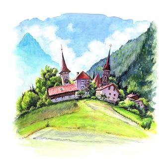 Esboço em aquarela da cidade suíça de interlaken, suíça