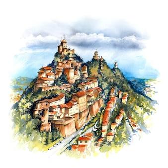 Esboço em aquarela da cidade velha e três fortalezas famosas: torre guaita, cesta e montale no topo do monte titano, república de san marino
