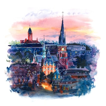 Esboço em aquarela da cidade velha, gotemburgo, suécia.