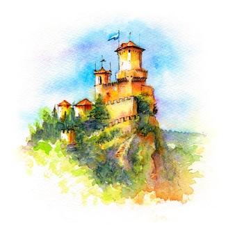 Esboço em aquarela da fortaleza guaita ou prima torre no cume do monte titano