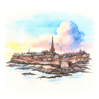 Esboço em aquarela da fortaleza medieval de saint-malo, bretanha, frança