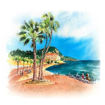 Esboço em aquarela da promenade des anglais, nice, riviera francesa, cote d'azur, frança