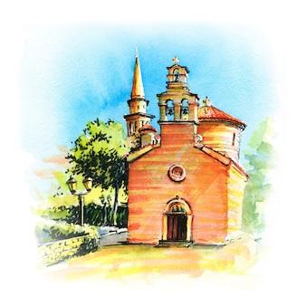 Esboço em aquarela das igrejas de são ivan e da santíssima trindade da cidade montenegrina de budva, montenegro