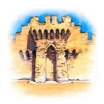 Esboço em aquarela das muralhas da famosa cidade medieval de avignon, provença, sul da frança