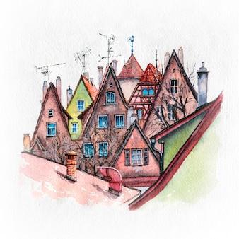 Esboço em aquarela de casas coloridas pitorescas