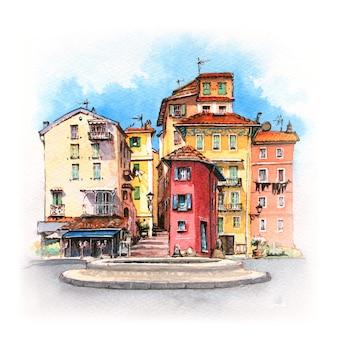 Esboço em aquarela de casas provençais na ensolarada menton, provença, frança