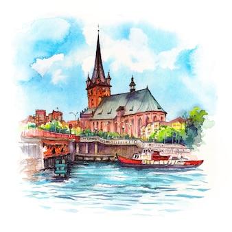 Esboço em aquarela de catedral na cidade velha em szczecin pomerânia polônia
