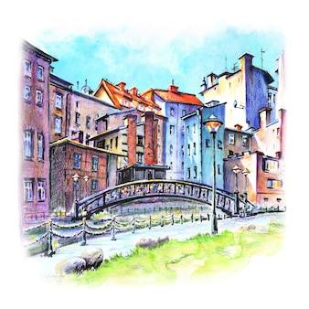 Esboço em aquarela de cortiços na cidade velha de bydgoszcz veneza em bydgoszcz no rio mlynowka na polônia