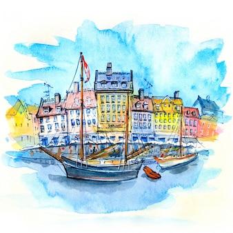 Esboço em aquarela de nyhavn em copenhague
