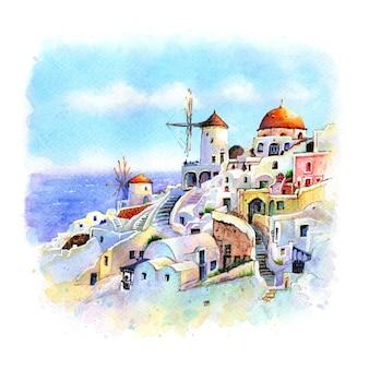 Esboço em aquarela de oia nas casas brancas da ilha de santorini e moinhos de vento ao pôr do sol na grécia