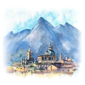 Esboço em aquarela de palermo ao pôr do sol, sicília, itália